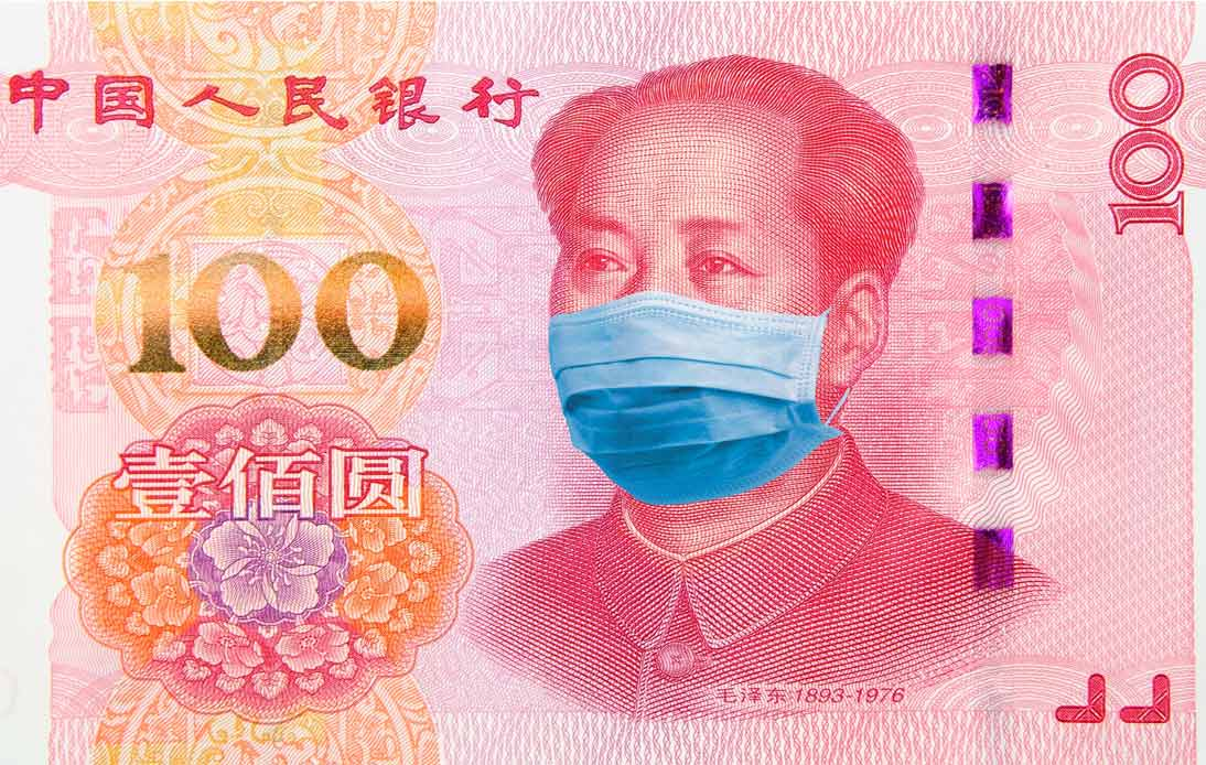 Mao Zedong wearing a mask on Chinese 100 Yuan note