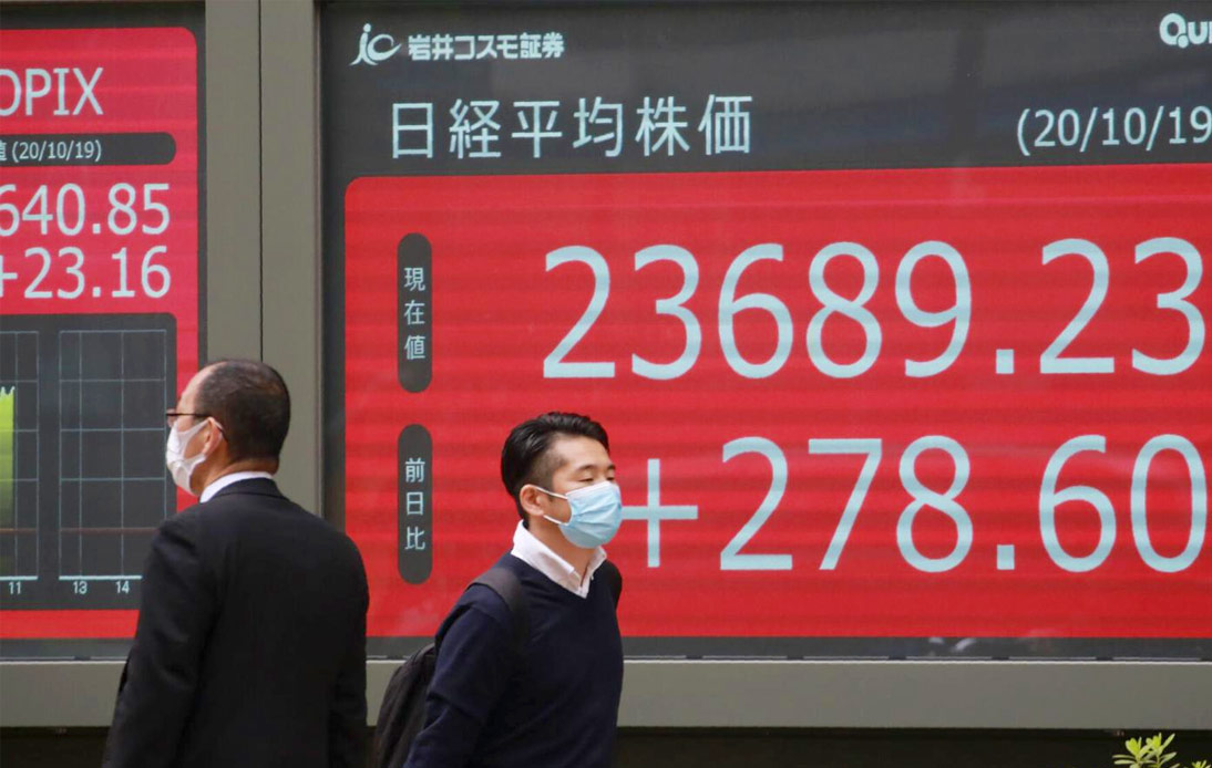 Two males on a street with a plus sign of Chinese market stocks