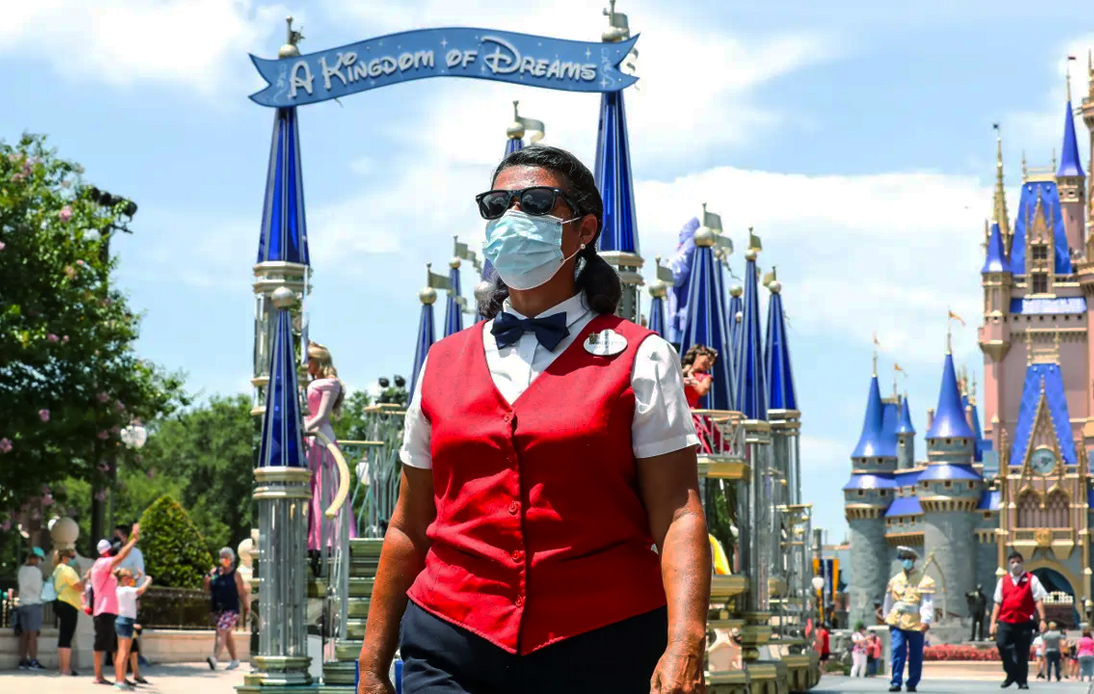 Disneyland staff's wearing a mask during the COVID pandemic