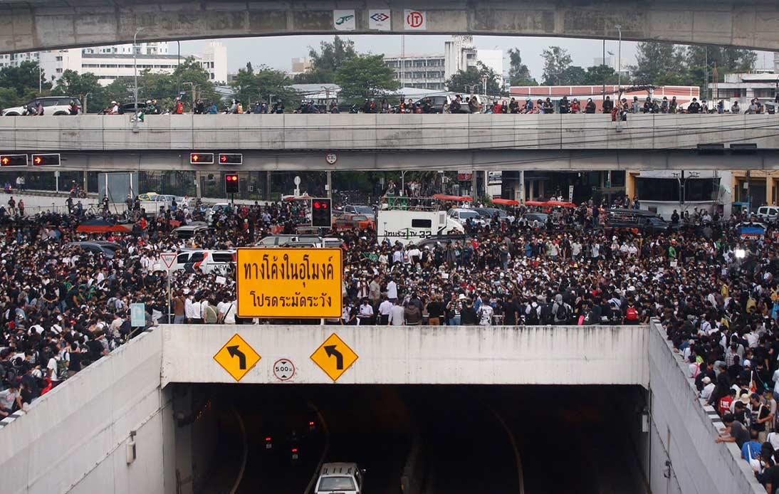 Rally at Kasetsart intersection at starting time