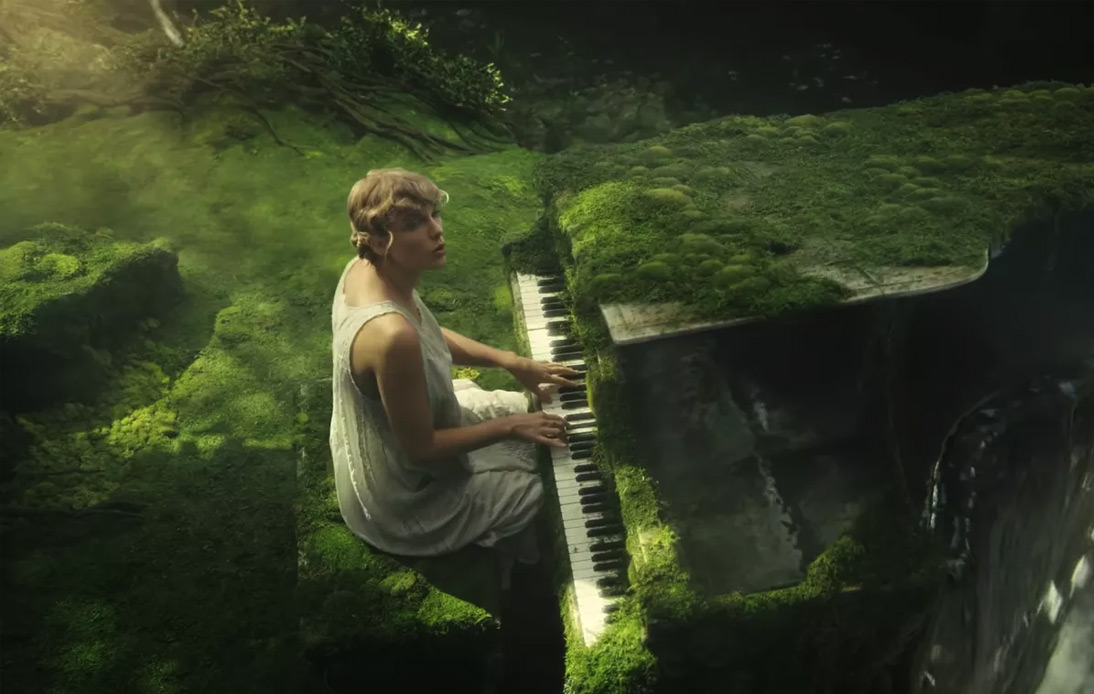 Taylor Swift playing piano in Folklore Music Video