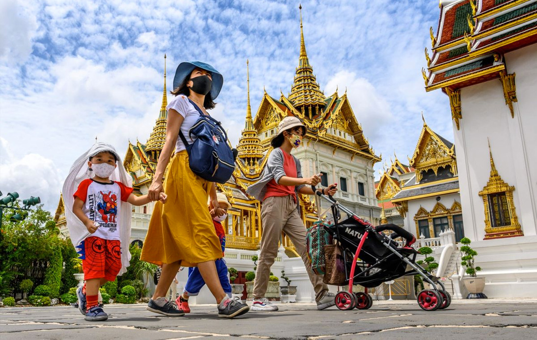 People visit the Grand Palace in Bangkok during the spread of the COVID-19