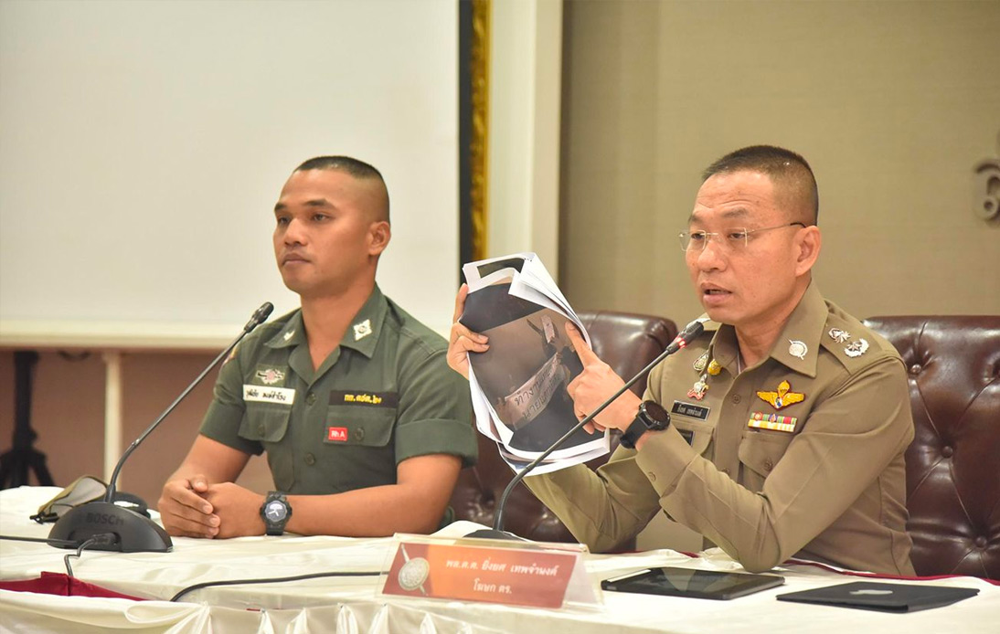 A press conference at Royal Thai Police Office