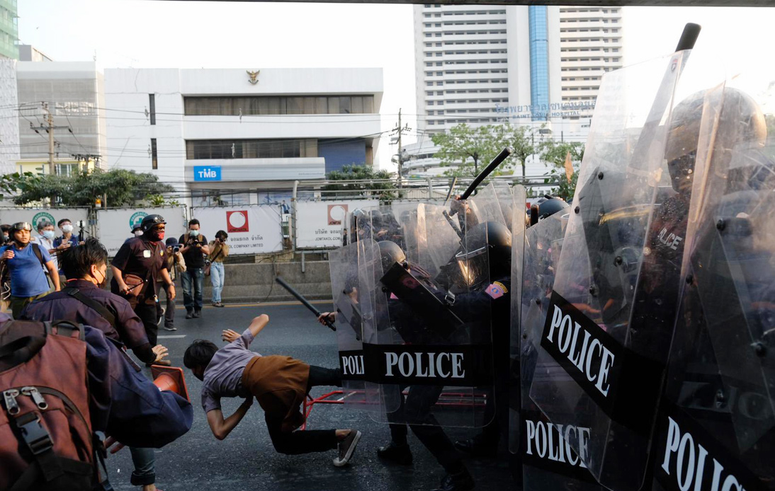 Bangkok's Riot Police Disperse Rally Against Myanmar Military Coup
