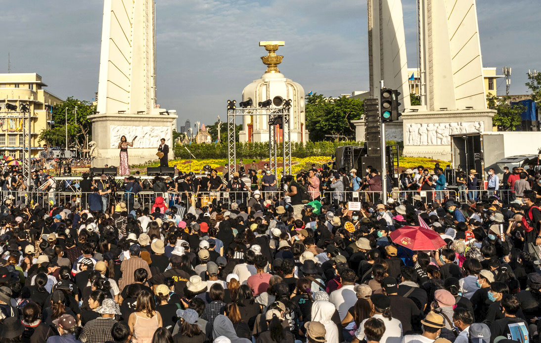 Protesters Gathered at the Democracy Monument in Bangkok