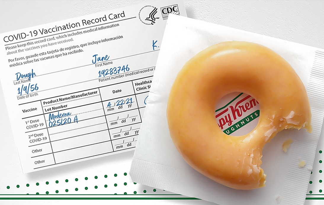 Krispy Kreme Offers Free Doughnuts to Anyone Vaccinated