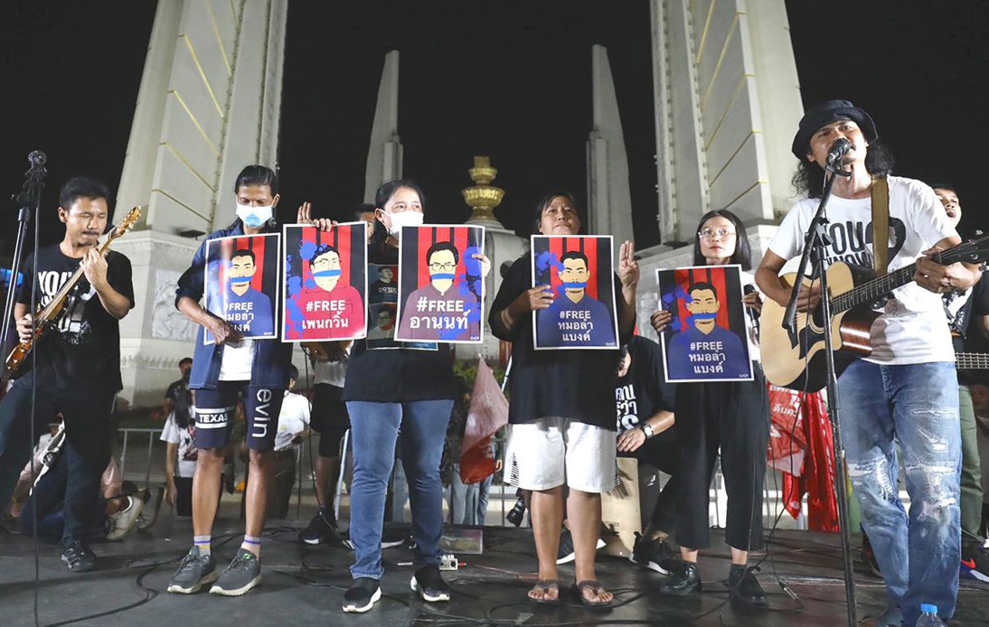 Protesters Rally at Democracy Monument Shrugging Off Police Warning